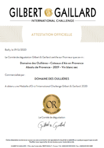 vin-blanc-medaille-diplome-or-gilbert-gaillard-coteaux-aix-provence-domaine-oullieres